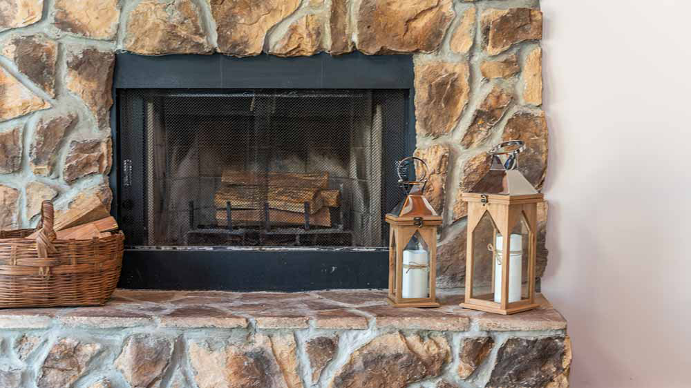 whippoorwill living room stone fireplace