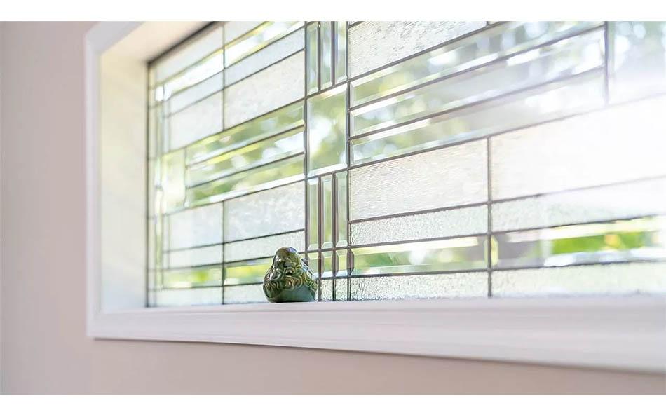 luxury in lyndhurst closeup of leaded glass window in master