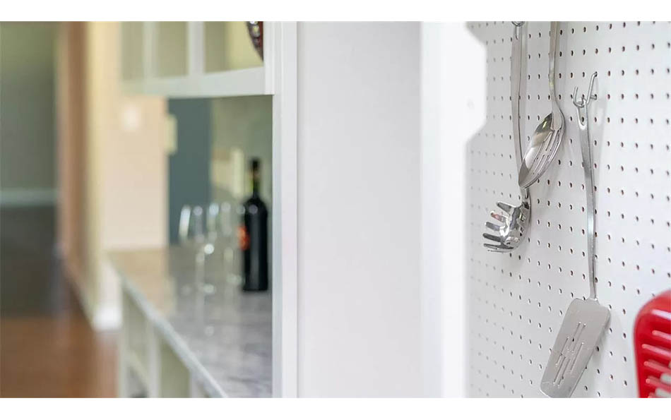 luxury in lyndhurst kitchen tool pegboard and serving area