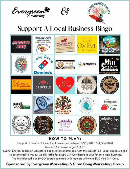 Win while boosting your mood with Staunton's local businesses with Support a Local Business Bingo!
