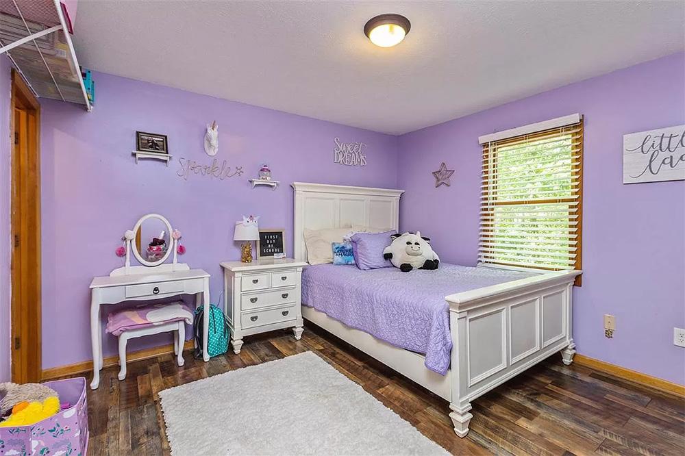 cotw modern rustic lilac bedroom with wood floor