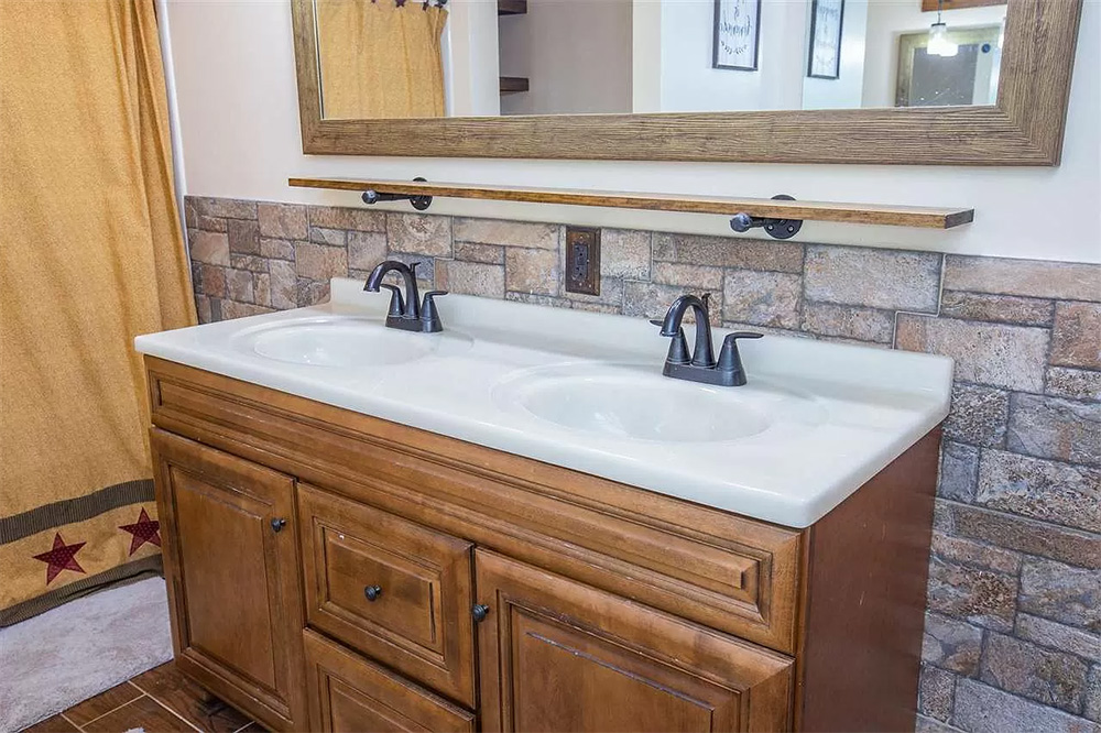cotw modern rustic master bath with double vanity