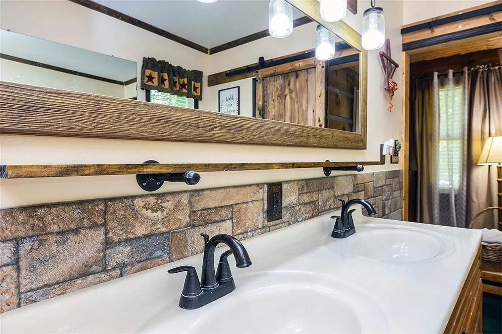 cotw modern rustic master bath with stone tile