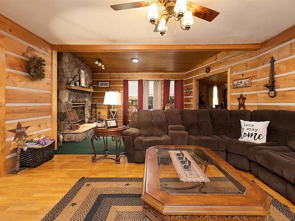 cotw modern rustic split wood paneled living room