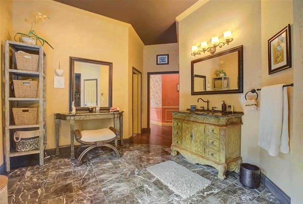cotw victorian secret huge-marble-floored-master-bath-with-french-country-vanity