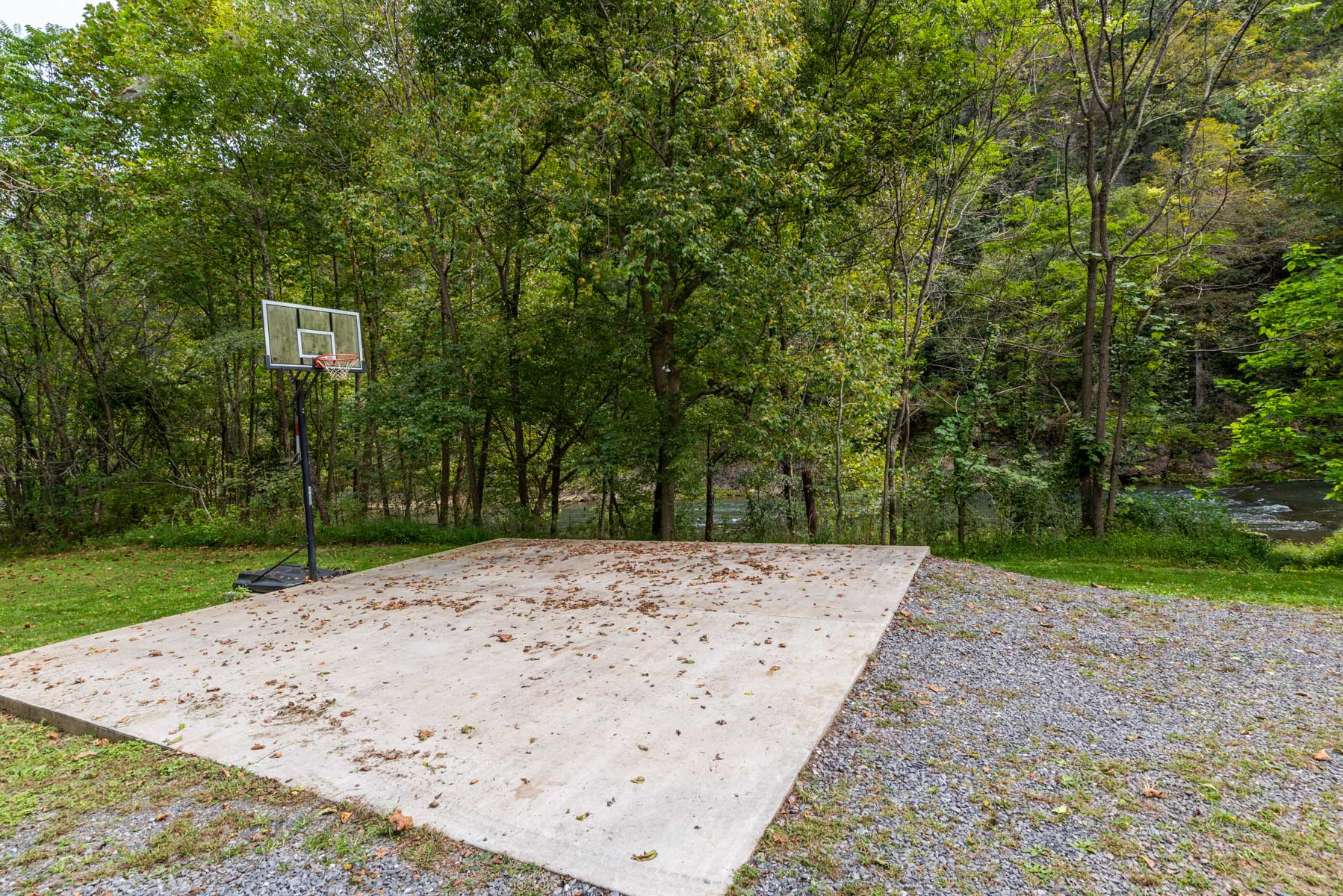 Riverfront retreat basketball hoop