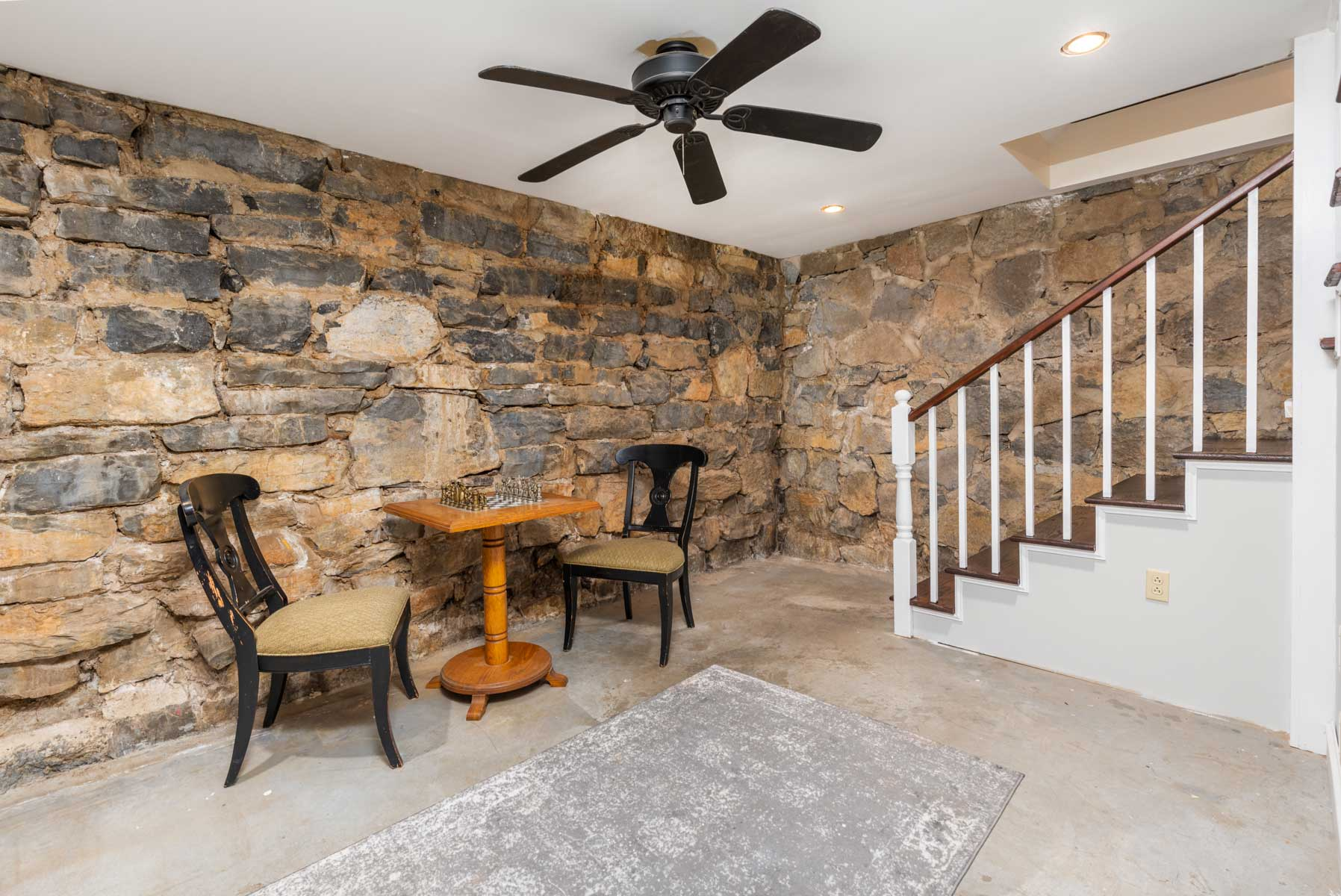 Riverfront retreat basement stairs