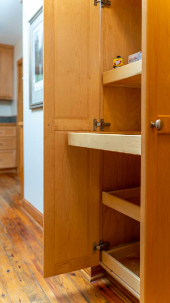 Riverfront retreat kitchen slide out cabinet shelves