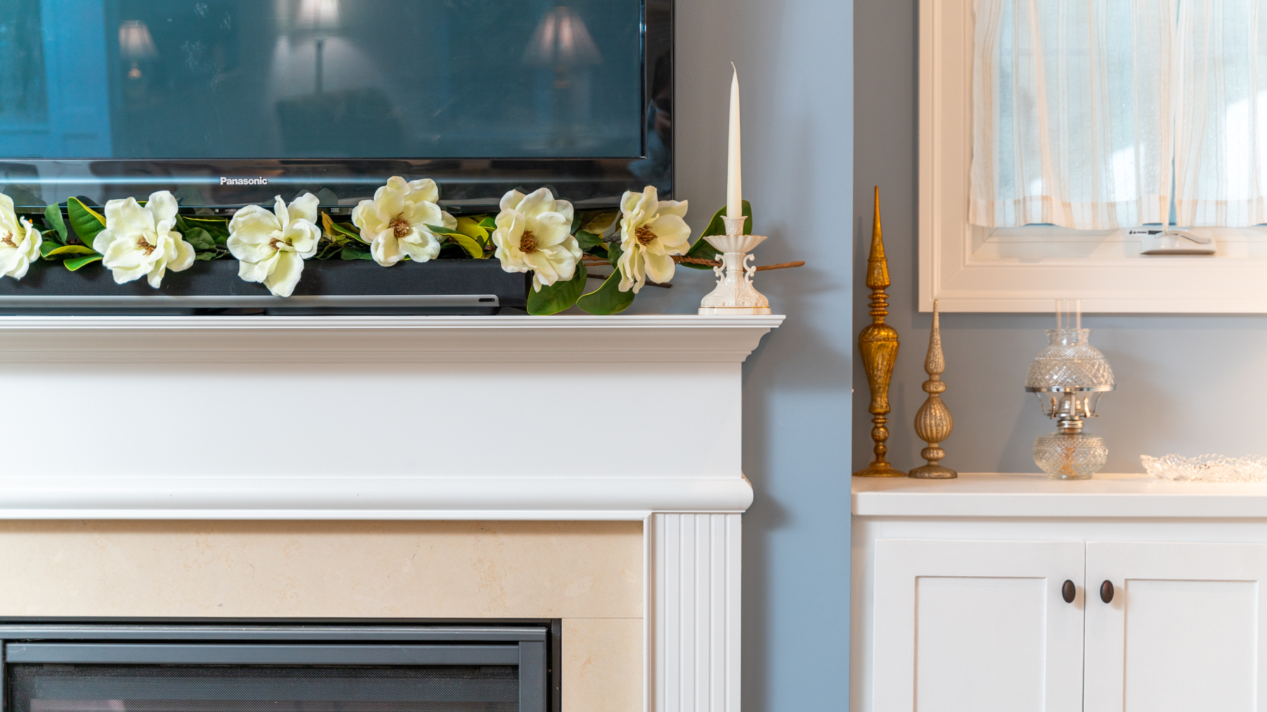 Riverwalk Xing fireplace mantel