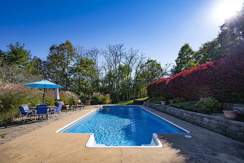 swimming pool and patio surrounded by mature landscaping