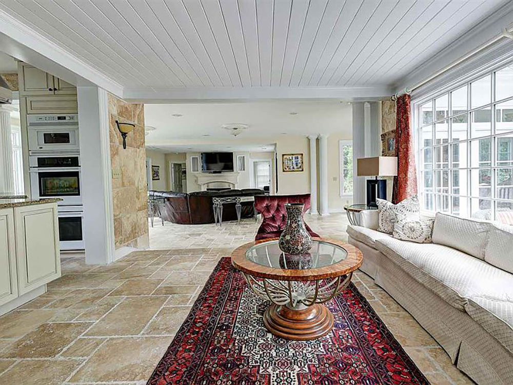 large seating area off kitchen