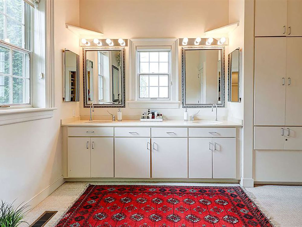 master bath double vanity with built in storage