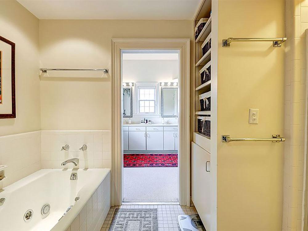 master bath with built in storage