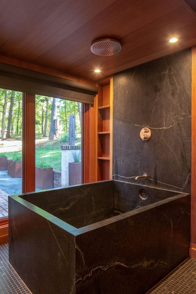 master bath japanese style soapstone soaking tub and rainshower