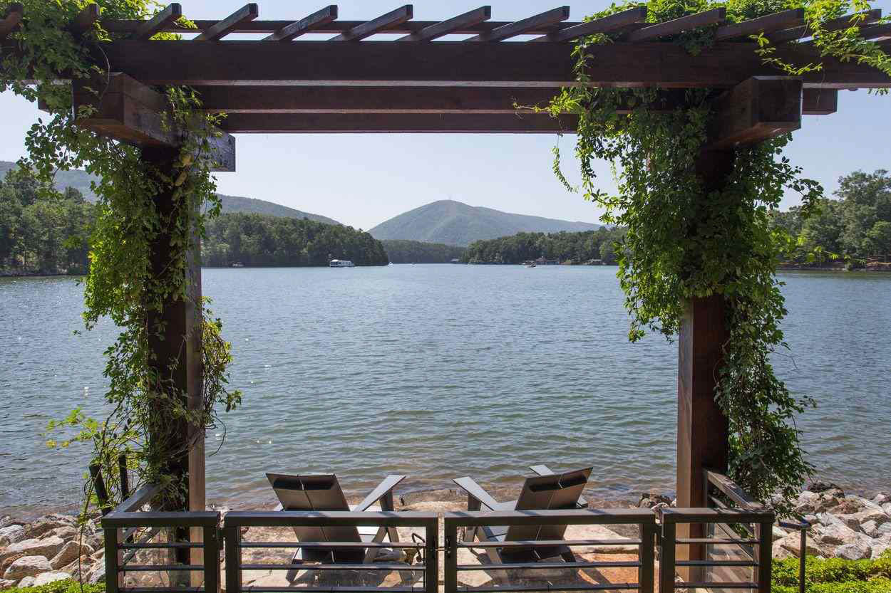 arbor seating area with view of the water