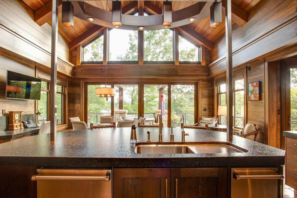 kitchen island and 2 story windows