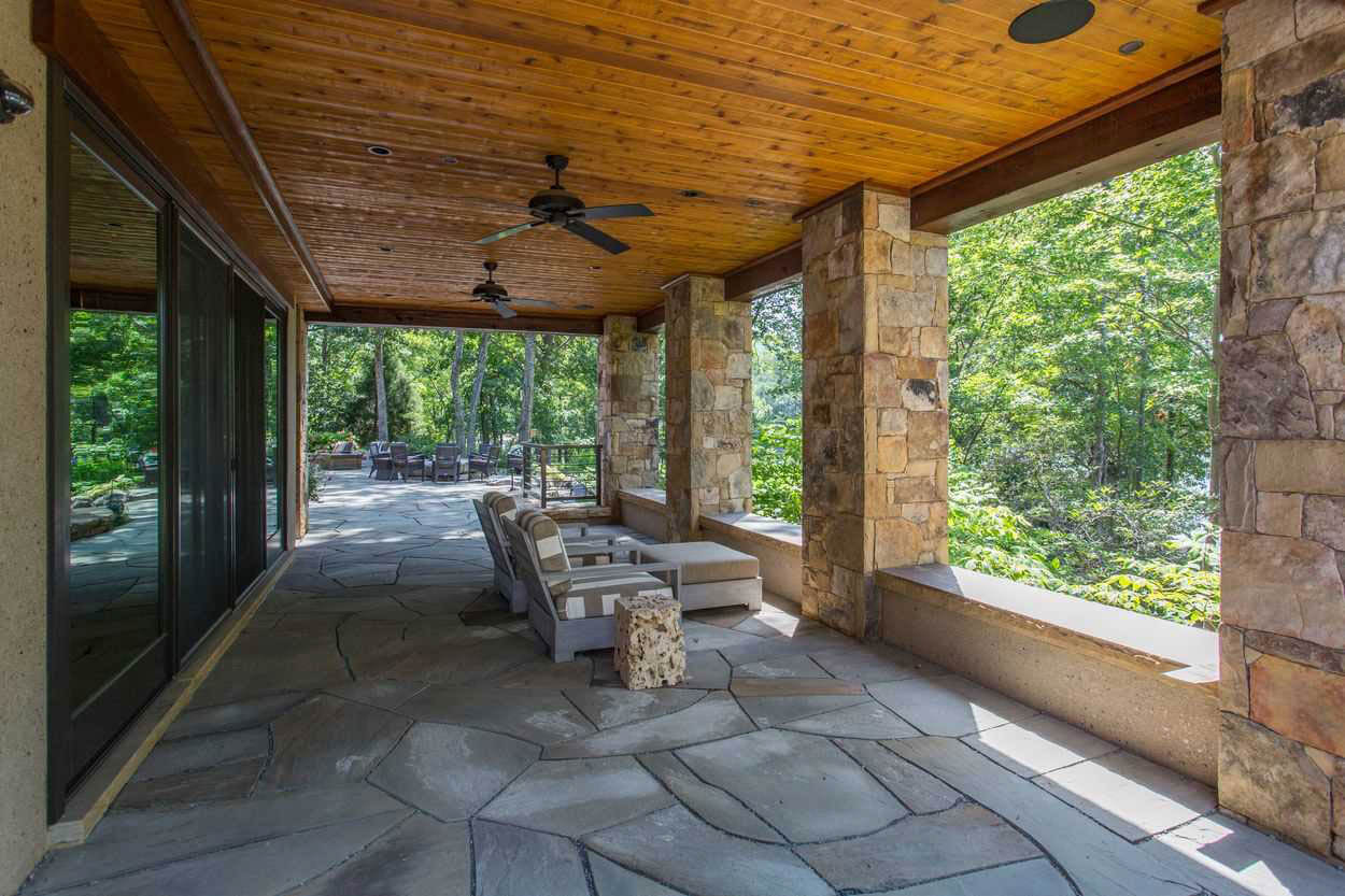 long stone covered porch
