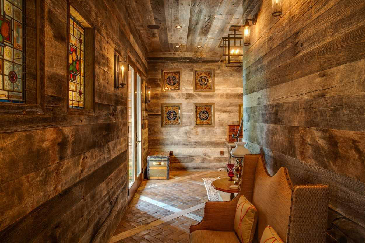 reclaimed wood hallway with stained glass windows