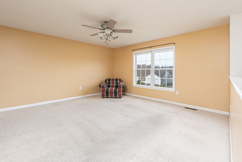 living room with double fron window