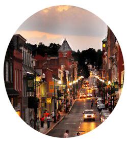 Staunton's main street at night
