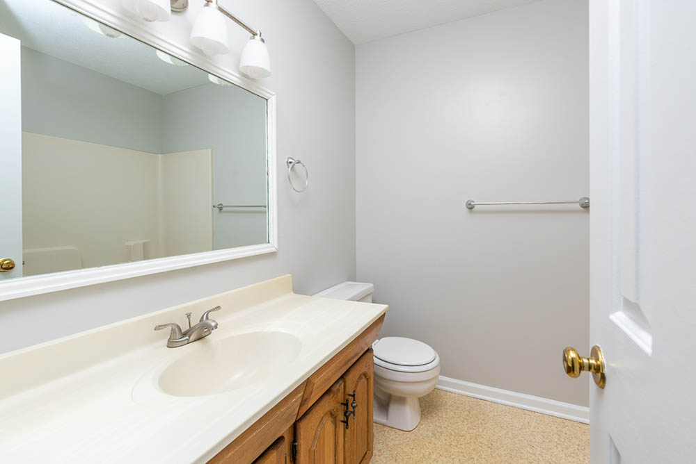 bathroom two in affordable brick ranch