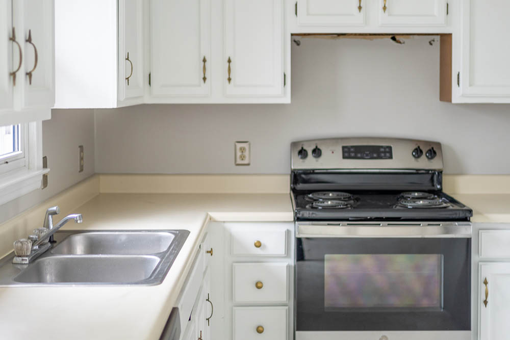 kitchen close up on sink and stove