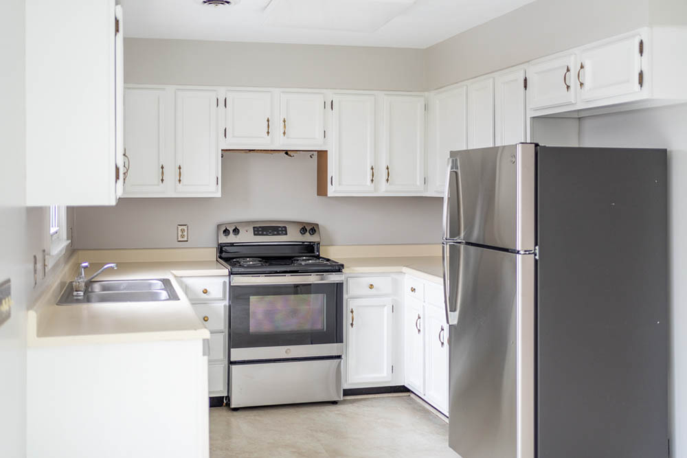 kitchen in affordable brick ranch